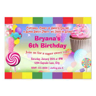 Candyland Sweets Cupcake Birthday Party Invitation