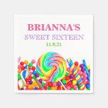 Candyland Theme Sweet 16 Personalized Napkin