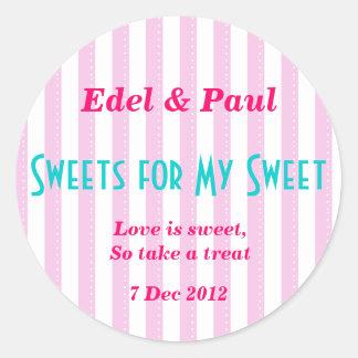 "Candystripe rosado ""dulces para mi"" pegatina dulce"
