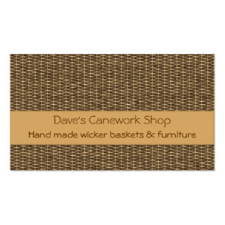 Cane basketry splint weave business card