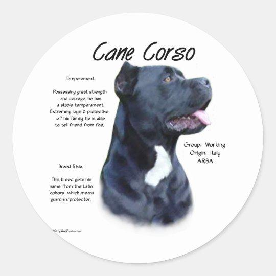 Cane Corso History Design Classic Round Sticker