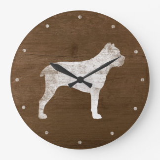Cane Corso Silhouette Rustic Large Clock