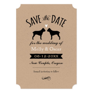 Cane Corso Silhouettes Wedding Save the Date Card