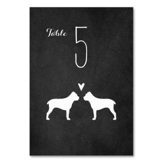 Cane Corso Silhouettes Wedding Table Card
