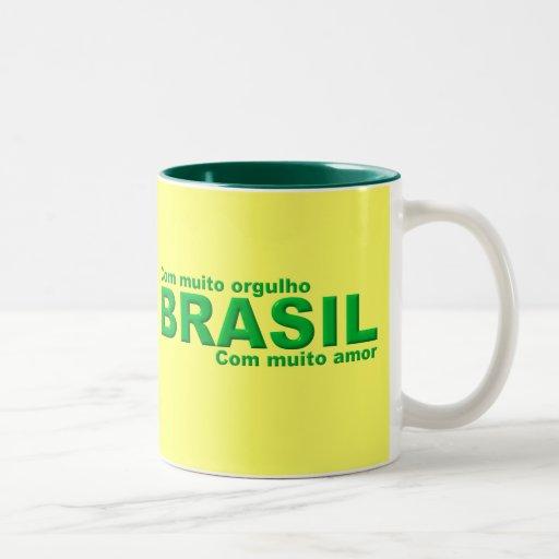 Caneca Brasil Com muito orgulho com muito amor Taza Dos Tonos