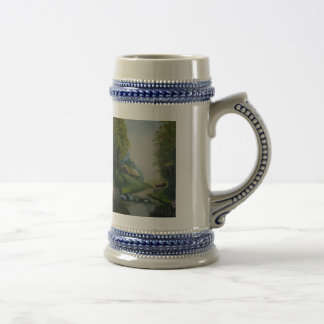 Caneco with handle and print 18 oz beer stein
