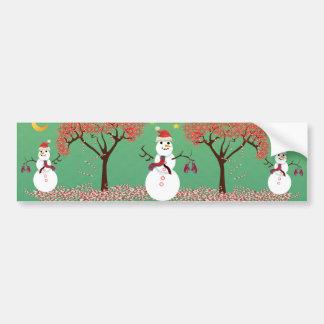 caneTree del caramelo con el muñeco de nieve Pegatina Para Auto