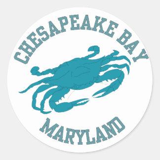 Cangrejo azul de la bahía de Chesapeake Pegatina Redonda