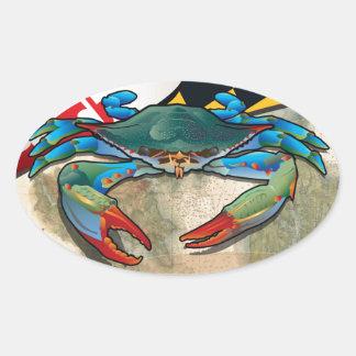 Cangrejo azul de Maryland Pegatina Ovalada