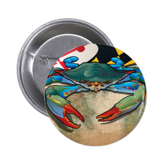 Cangrejo azul de Maryland Pin Redondo De 2 Pulgadas