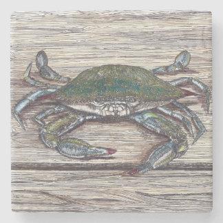 Cangrejo azul en el práctico de costa de la piedra posavasos de piedra