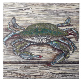 Cangrejo azul en la teja de cerámica de la foto