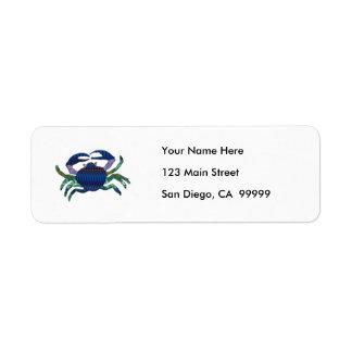 Cangrejo azul esmaltado etiquetas de remite