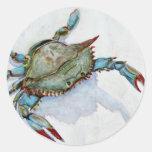 cangrejo azul etiquetas redondas
