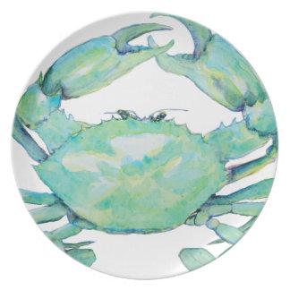 Cangrejo azul platos para fiestas