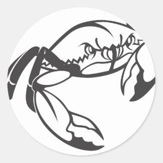 Cangrejo azul serio en blanco y negro pegatina