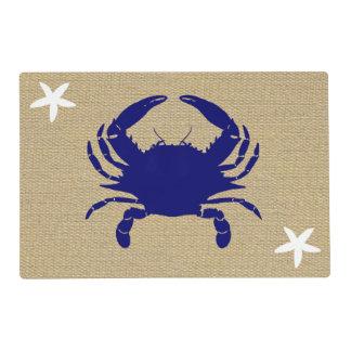 """Cangrejo azul y playa náutica """"arpillera """" de las tapete individual"""