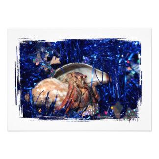 Cangrejo de ermitaño con malla azul del día de fie invitaciones personales