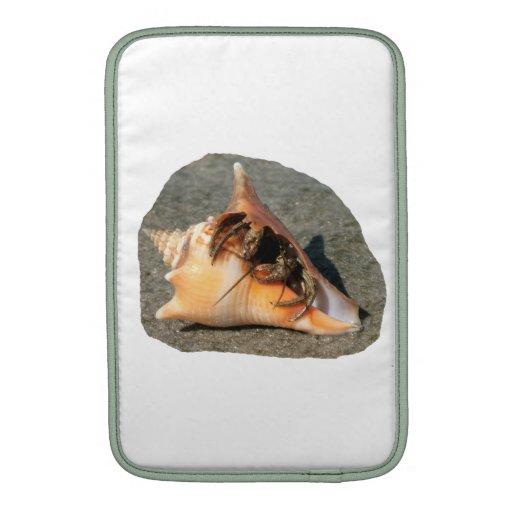 Cangrejo de ermitaño en la arena que sale de la cá fundas MacBook