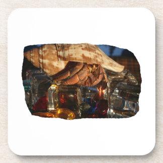 Cangrejo de ermitaño en los cubos de hielo posavasos de bebida