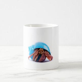 Cangrejo de ermitaño en una taza azul de Shell