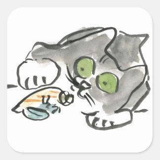 Cangrejo de ermitaño y gatito pegatina cuadrada