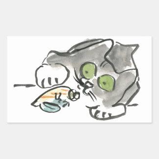 Cangrejo de ermitaño y gatito pegatina rectangular