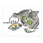 Cangrejo de ermitaño y gatito postales