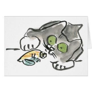 Cangrejo de ermitaño y gatito tarjeta de felicitación