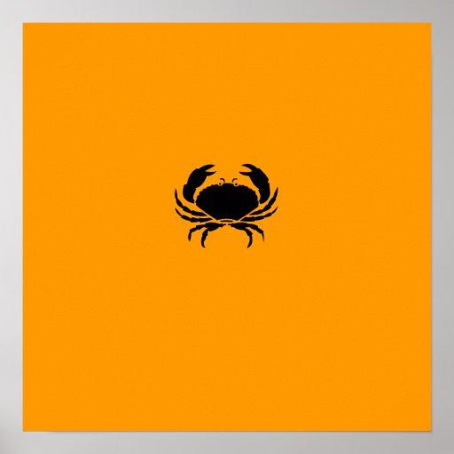 Cangrejo de Glow_Black-on-Orange del océano Poster
