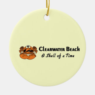 Cangrejo de la playa de Clearwater Adorno Navideño Redondo De Cerámica