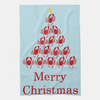 Cangrejo de las Felices Navidad Toalla De Cocina