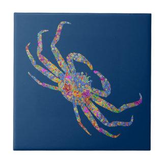 Cangrejo de Opilio en azul con las estrellas Azulejo Cuadrado Pequeño