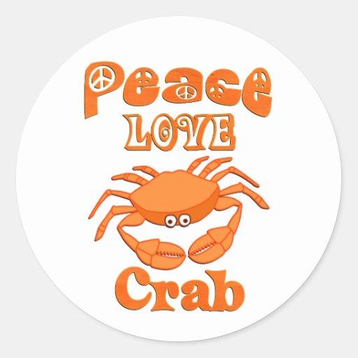 Cangrejo del amor de la paz pegatina redonda