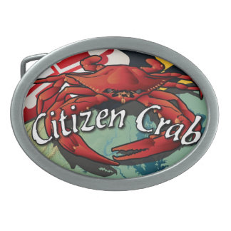 Cangrejo del ciudadano de Maryland Hebillas De Cinturón Ovales