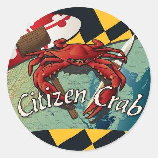Cangrejo del ciudadano de Maryland Etiquetas Redondas