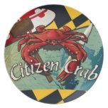 Cangrejo del ciudadano de Maryland Platos