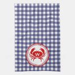 Cangrejo del monograma y toalla de cocina azul de