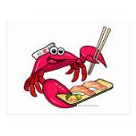 Cangrejo del sushi tarjeta postal