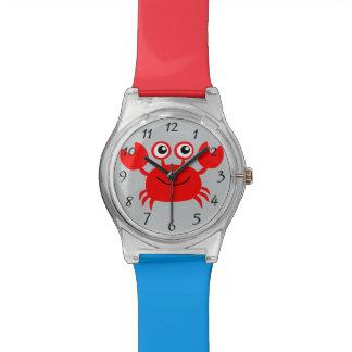 Cangrejo feliz animado relojes de pulsera