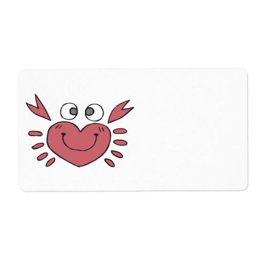 cangrejo feliz en forma de corazón tonto lindo etiquetas de envío