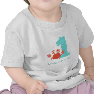Cangrejo lindo, cangrejo soy uno, primer cumpleaño camiseta