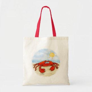 Cangrejo lindo en bolso de la playa bolsa tela barata