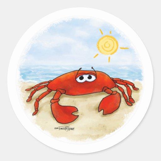 Cangrejo lindo en los pegatinas de la playa pegatina redonda