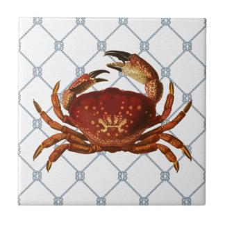 Cangrejo náutico azulejo cuadrado pequeño