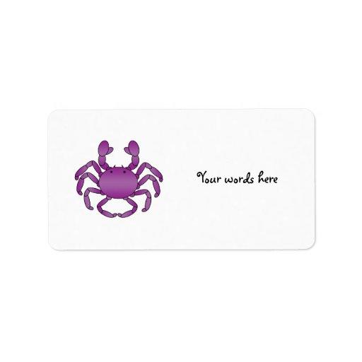 Cangrejo púrpura etiqueta de dirección