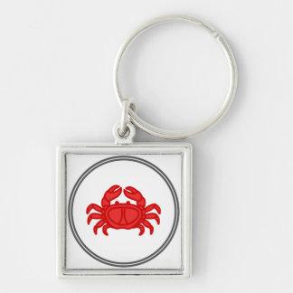 Cangrejo rojo - colección del cangrejo de la gamba llavero cuadrado plateado