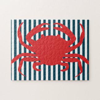 Cangrejo rojo en rayas náuticas puzzle
