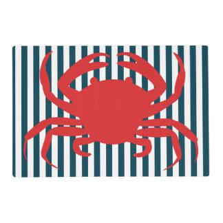 Cangrejo rojo en rayas náuticas salvamanteles