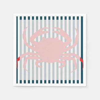 Cangrejo rojo en rayas náuticas servilletas desechables